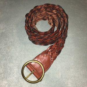 Ann Taylor genuine leather brown braided belt